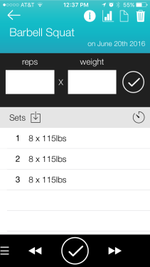 Record Your Weights & Reps